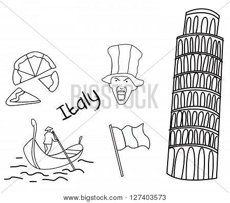 Italy tourism hand drawn Sketch Doodle .eps10 editable vector illustration design