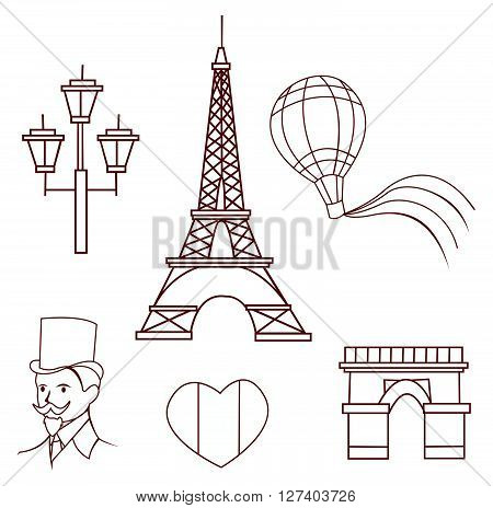 France Traveling Object Collection .eps10 editable vector illustration design