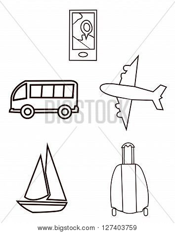 Traveling  Object Collection .eps10 editable vector illustration design