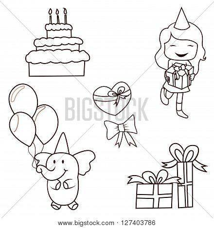Birthday Party Doodle  Object Collection .eps10 editable vector illustration design
