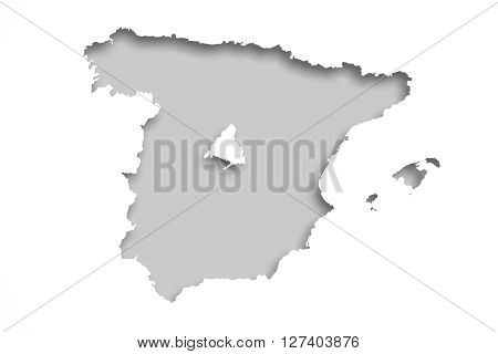 Map Of Spain And The Capital, Madrid