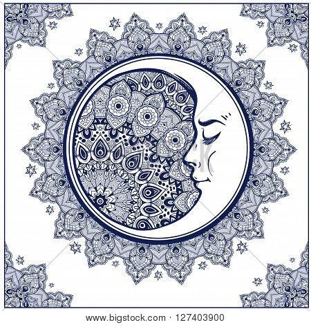 Intricate ornate bohemian crescent moon with stars and mandala . Isolated Vector illustration. Tattoo art, astrology, spirituality, alchemy, magic symbol. Ethnic, mystic tribal element for your use.