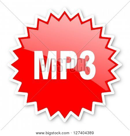 mp3 red tag, sticker, label, star, stamp, banner, advertising, badge, emblem, web icon