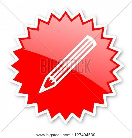 pencil red tag, sticker, label, star, stamp, banner, advertising, badge, emblem, web icon