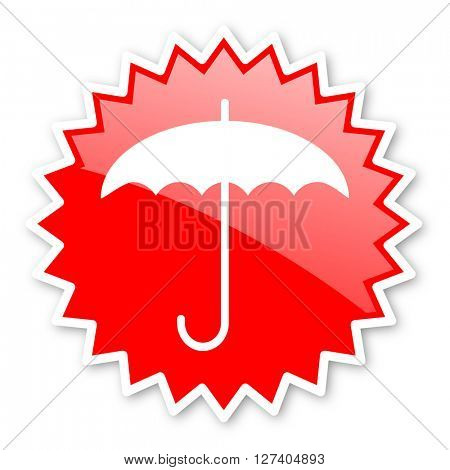 umbrella red tag, sticker, label, star, stamp, banner, advertising, badge, emblem, web icon