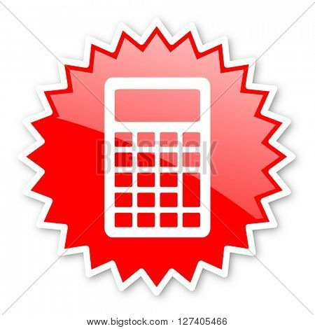 calculator red tag, sticker, label, star, stamp, banner, advertising, badge, emblem, web icon