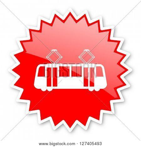 tram red tag, sticker, label, star, stamp, banner, advertising, badge, emblem, web icon