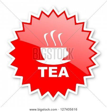 tea red tag, sticker, label, star, stamp, banner, advertising, badge, emblem, web icon