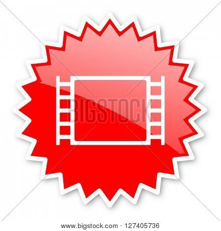 movie red tag, sticker, label, star, stamp, banner, advertising, badge, emblem, web icon