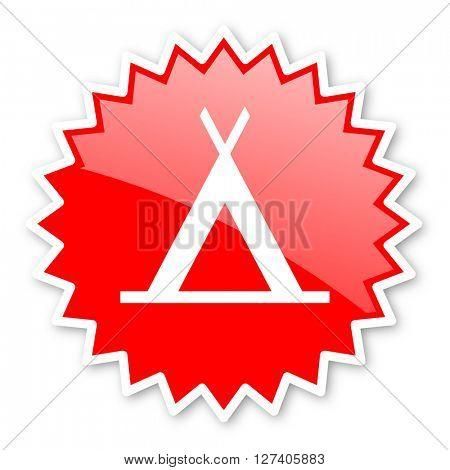 camp red tag, sticker, label, star, stamp, banner, advertising, badge, emblem, web icon