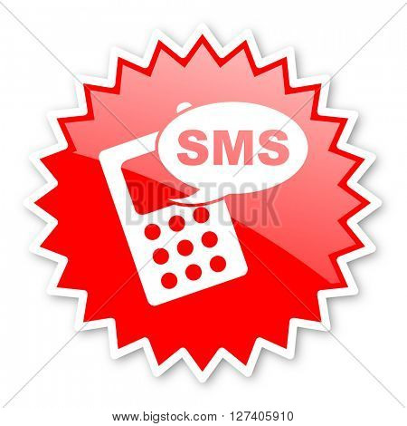 sms red tag, sticker, label, star, stamp, banner, advertising, badge, emblem, web icon
