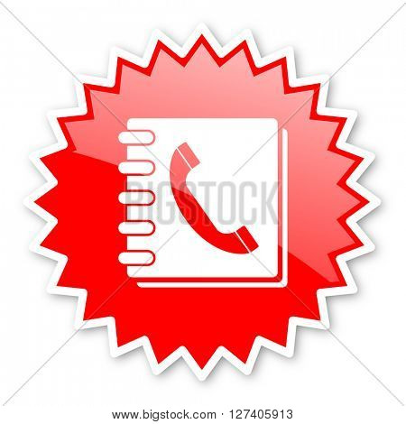 phonebook red tag, sticker, label, star, stamp, banner, advertising, badge, emblem, web icon