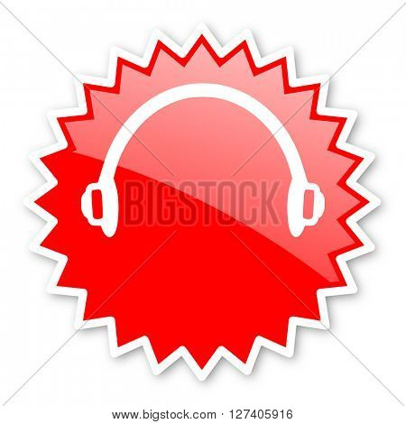 headphones red tag, sticker, label, star, stamp, banner, advertising, badge, emblem, web icon