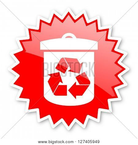 recycle red tag, sticker, label, star, stamp, banner, advertising, badge, emblem, web icon