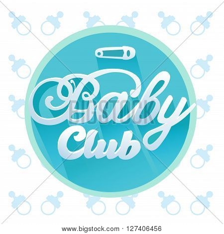 Vector baby Club Title for Boy in Blue Colors in Circle Frame