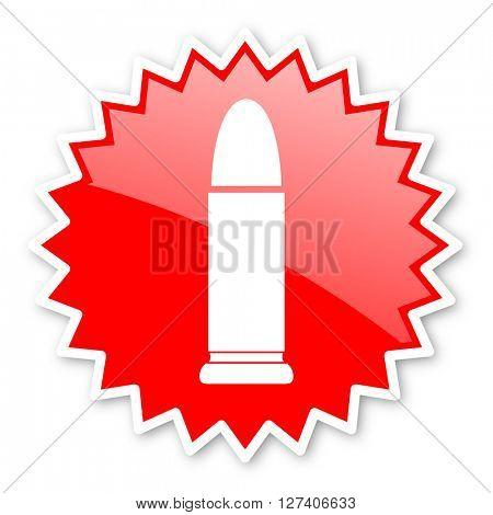 ammunition red tag, sticker, label, star, stamp, banner, advertising, badge, emblem, web icon
