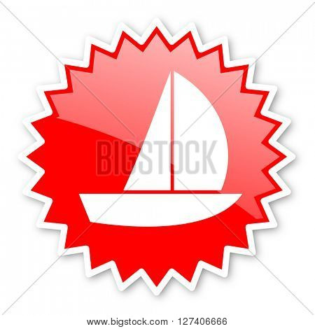 yacht red tag, sticker, label, star, stamp, banner, advertising, badge, emblem, web icon