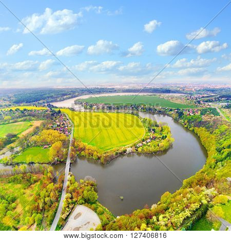 Amazing view to Czech Valley Reservoir in The Litice suburban district of Pilsen. Aerial view to scenic landscape in Czech Republic, Central Europe.