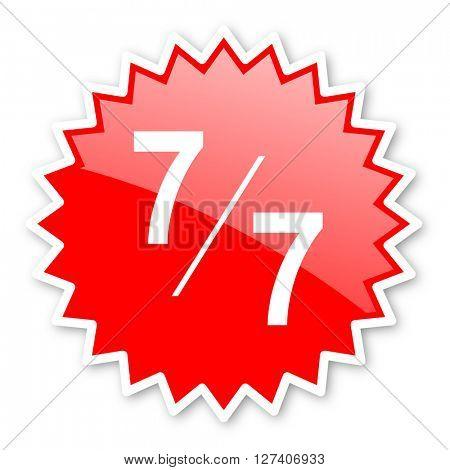 7 per 7 red tag, sticker, label, star, stamp, banner, advertising, badge, emblem, web icon