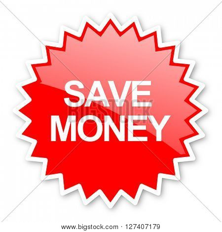 save money red tag, sticker, label, star, stamp, banner, advertising, badge, emblem, web icon