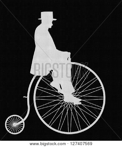 A retro penny farthing gentleman silhouette isolated on a black background