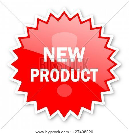 new product red tag, sticker, label, star, stamp, banner, advertising, badge, emblem, web icon