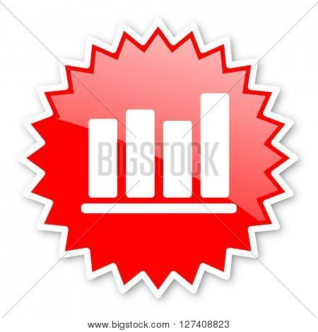bar chart red tag, sticker, label, star, stamp, banner, advertising, badge, emblem, web icon