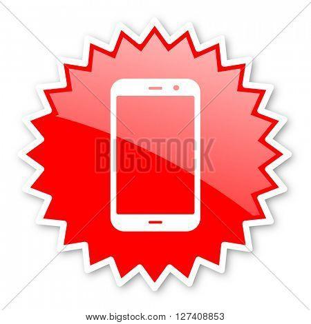 smartphone red tag, sticker, label, star, stamp, banner, advertising, badge, emblem, web icon