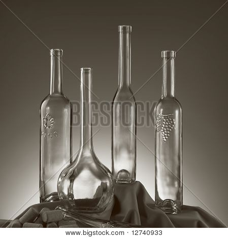 vintage wine bottles sephia tone