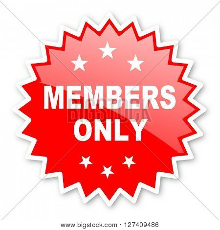 members only red tag, sticker, label, star, stamp, banner, advertising, badge, emblem, web icon
