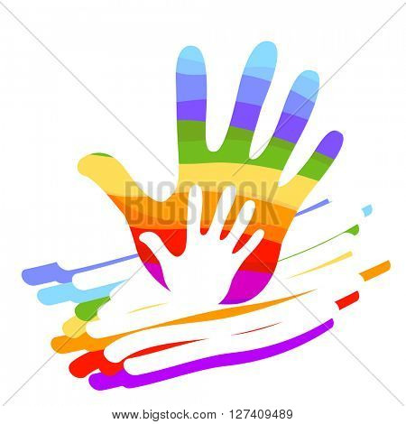 hands help rainbow colorful illustration background