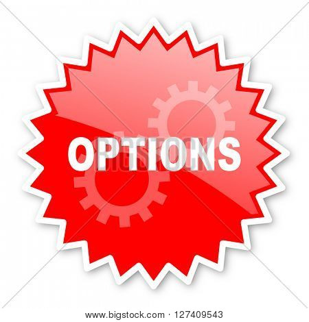 options red tag, sticker, label, star, stamp, banner, advertising, badge, emblem, web icon