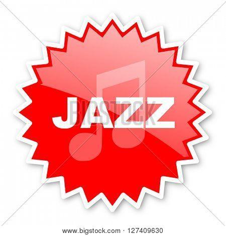 jazz music red tag, sticker, label, star, stamp, banner, advertising, badge, emblem, web icon