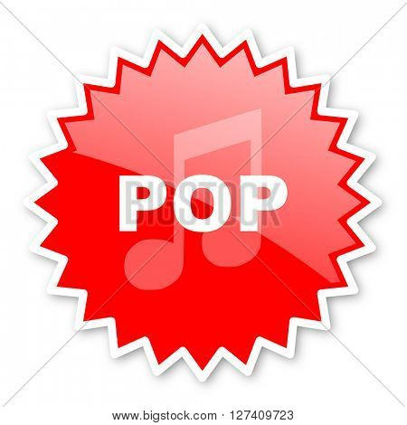 pop music red tag, sticker, label, star, stamp, banner, advertising, badge, emblem, web icon
