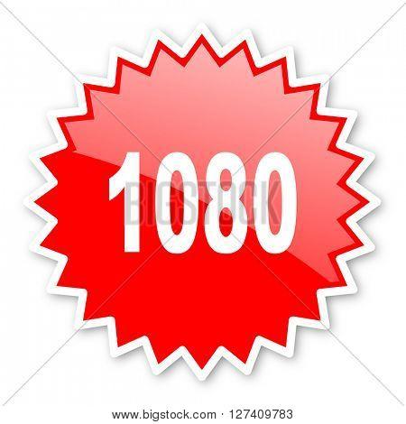 1080 red tag, sticker, label, star, stamp, banner, advertising, badge, emblem, web icon