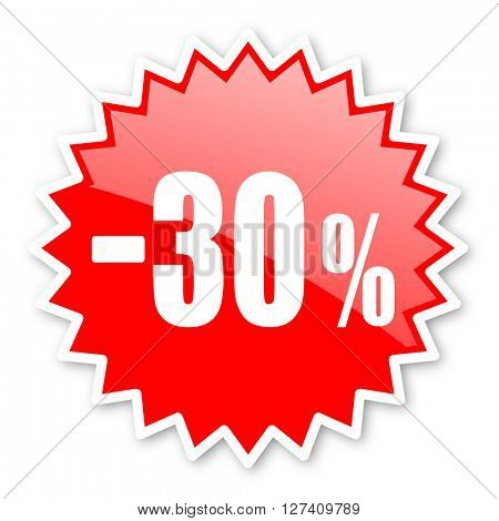 30 percent sale retail red tag, sticker, label, star, stamp, banner, advertising, badge, emblem, web icon