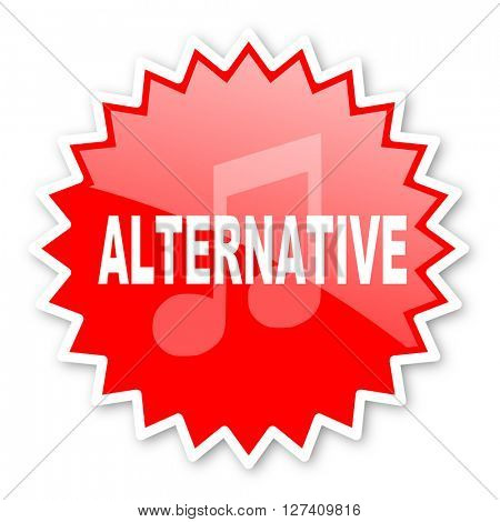 alternative music red tag, sticker, label, star, stamp, banner, advertising, badge, emblem, web icon
