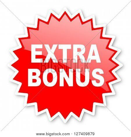 extra bonus red tag, sticker, label, star, stamp, banner, advertising, badge, emblem, web icon
