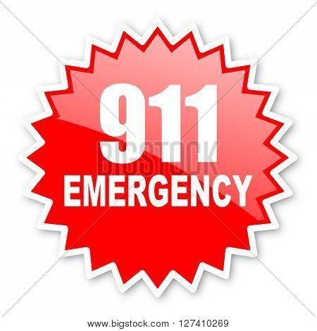 number emergency 911 red tag, sticker, label, star, stamp, banner, advertising, badge, emblem, web icon