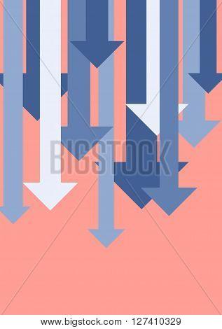 Graph down arrows. Business flat background concept