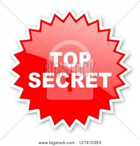 top seret red tag, sticker, label, star, stamp, banner, advertising, badge, emblem, web icon