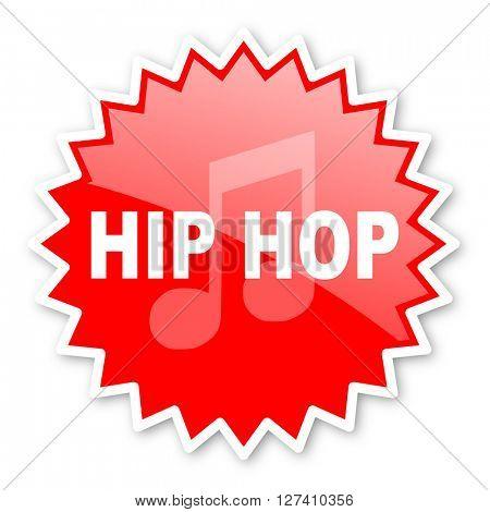 hip hop red tag, sticker, label, star, stamp, banner, advertising, badge, emblem, web icon