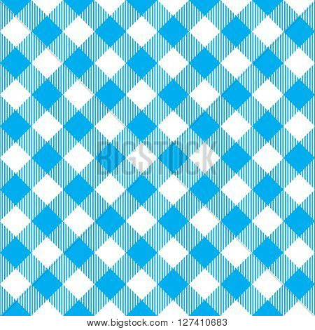 Blue tablecloth diagonal seamless pattern. Vector illustration of traditional gingham dining cloth with fabric texture. Checkered picnic cooking tablecloth.