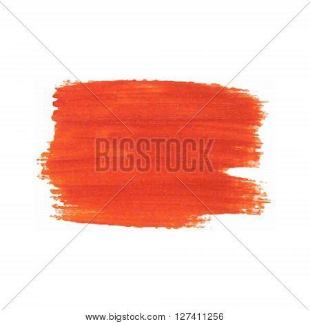 Orange Red Smear Vector Brush Stroke. Varnish Splash Line Trace. Abstract Shape Oil Paint.