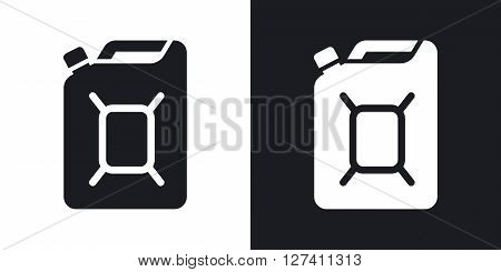 Jerrycan of fuel icon vector. Two-tone version on black and white background