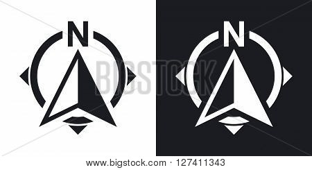 North direction compass icon stock vector. Two-tone version on black and white background