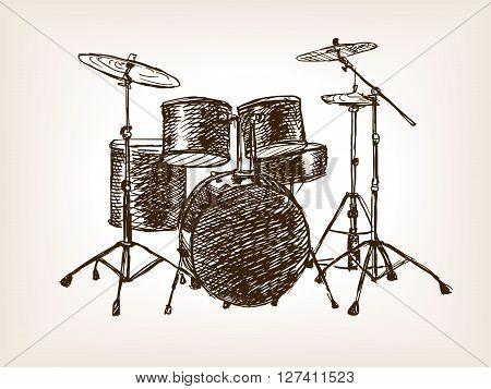 Drum set sketch style vector illustration. Old hand drawn engraving imitation.