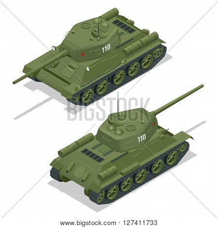 Flat 3d isometric illustration of tank. Military Transportation. Military Tank. Military Tank isometric. Military Tank vector. Tank EPS