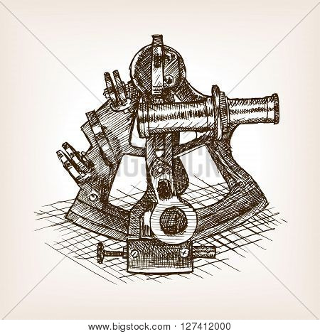Sextant sketch style vector illustration. Old engraving imitation.
