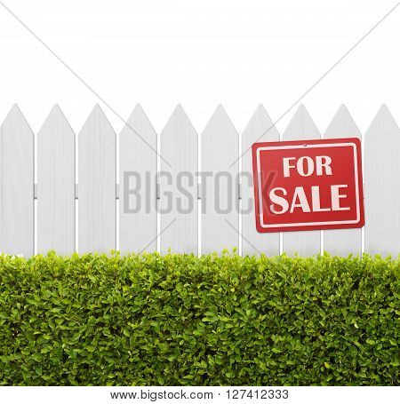 For sale sign on white wooden fence isolated on white background with copy space